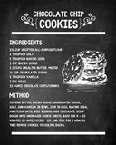 Chocolate Chip Cookies Recipe Chalkboard Background
