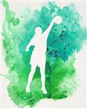 Basketball Girl Watercolor Silhouette Inverted Part I