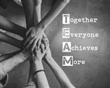 Together Everyone Achieves More - Stacking Hands Grayscale