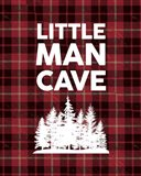Little Man Cave - Trees Red Plaid Background