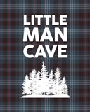Little Man Cave - Trees Blue Plaid Background