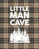 Little Man Cave - Trees Tan Plaid Background