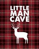 Little Man Cave - Deer Red Plaid Background