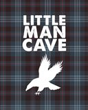 Little Man Cave - Eagle Blue Plaid Background