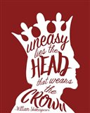 Uneasy Lies The Head Shakespeare - King White on Red