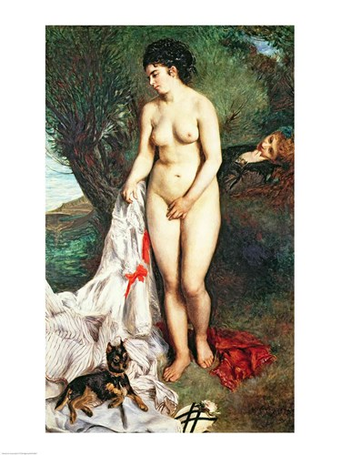 Bather with a Griffon dog, 1870 Poster by Pierre-Auguste Renoir for $32.50 CAD
