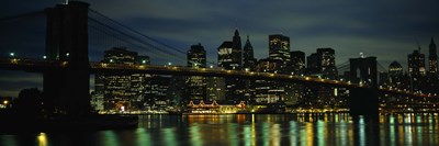 Brooklyn Bridge at Night, New York City Poster by Panoramic Images for $80.00 CAD