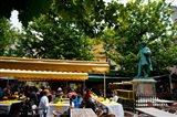 People in a restaurant, Place Du Forum, Arles, Bouches-Du-Rhone, Provence-Alpes-Cote d'Azur, France