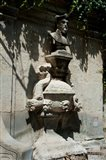 Fountain with the bust of Nostradamus, Rue Carnot, St.-Remy-de-Provence, Bouches-Du-Rhone, Provence-Alpes-Cote d'Azur, France