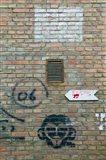 Art and signs painted on a brick wall, Dashanzi Art District, Dashanzi, Chaoyang District, Beijing, China