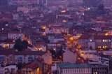 Aerial view of building lit up at dusk viewed from Parc de Montjuzet, Clermont-Ferrand, Auvergne, Puy-de-Dome, France