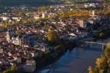 Elevated view of a town viewed from Mont St-Cyr, Cahors, Lot, Midi-Pyrenees, France