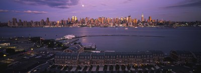 Glowing Moon over New York Skyline Poster by Panoramic Images for $71.25 CAD