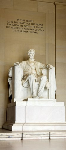Abraham Lincoln's Statue in a memorial, Lincoln Memorial, Washington DC, USA Poster by Panoramic Images for $86.25 CAD