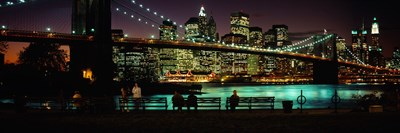 Suspension bridge lit up at dusk, Brooklyn Bridge, East River, Manhattan, New York City, New York State, USA Poster by Panoramic Images for $71.25 CAD