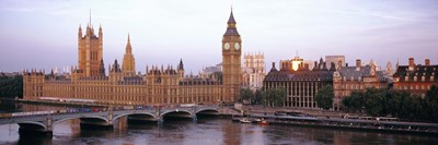 Arch bridge across a river, Westminster Bridge, Big Ben, Houses Of Parliament, Westminster, London, England Poster by Panoramic Images for $86.25 CAD