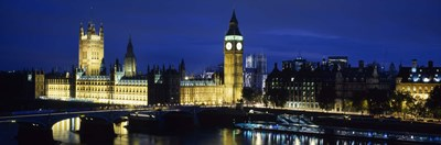 Buildings lit up at dusk, Westminster Bridge, Big Ben, Houses Of Parliament, Westminster, London, England Poster by Panoramic Images for $86.25 CAD