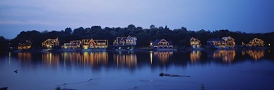 Boathouse Row lit up at dusk, Philadelphia, Pennsylvania Poster by Panoramic Images for $71.25 CAD
