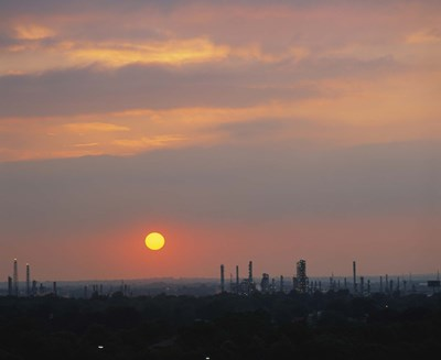 Sunset over a refinery, Philadelphia, Pennsylvania, USA Poster by Panoramic Images for $152.50 CAD