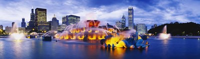 Fountain lit up at dusk, Buckingham Fountain, Grant Park, Chicago, Illinois, USA Poster by Panoramic Images for $86.25 CAD