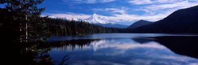 Reflection of clouds in water, Mt Hood, Lost Lake, Mt. Hood National Forest, Hood River County, Oregon, USA Poster by Panoramic Images for $86.25 CAD