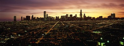 CGI composite, High angle view of a city at night, Chicago, Cook County, Illinois, USA Poster by Panoramic Images for $71.25 CAD