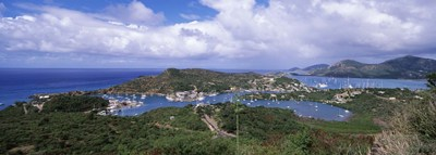 Aerial view of a harbor, English Harbour, Falmouth Bay, Antigua, Antigua and Barbuda Poster by Panoramic Images for $82.50 CAD