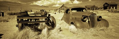 Abandoned car in a ghost town, Bodie Ghost Town, Mono County, California, USA Poster by Panoramic Images for $82.50 CAD