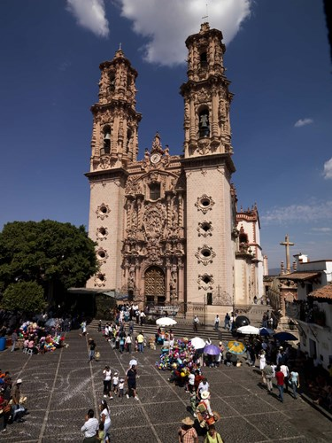 Group of people in front of a cathedral, Santa Prisca Cathedral, Plaza Borda, Taxco, Guerrero, Mexico Poster by Panoramic Images for $146.25 CAD