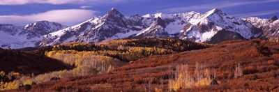 Mountains covered with snow and fall colors, near Telluride, Colorado Poster by Panoramic Images for $86.25 CAD