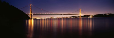Golden Gate Bridge Lit Up at Dusk, San Francisco Bay Poster by Panoramic Images for $71.25 CAD