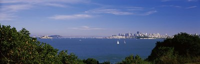 Sea with the Bay Bridge and Alcatraz Island in the background, San Francisco, Marin County, California, USA Poster by Panoramic Images for $86.25 CAD