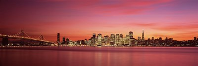Bay Bridge and San Francisco Skyline at Dusk (pink sky) Poster by Panoramic Images for $71.25 CAD