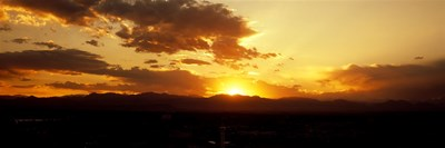 Silhouette of mountains at sunrise, Denver, Colorado, USA Poster by Panoramic Images for $71.25 CAD