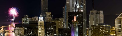 Skyscrapers and firework display in a city at night, Lake Michigan, Chicago, Illinois, USA Poster by Panoramic Images for $86.25 CAD