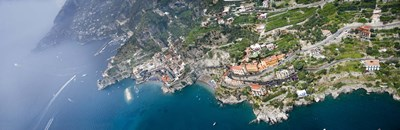 Aerial view of a town, Atrani, Amalfi Coast, Salerno, Campania, Italy Poster by Panoramic Images for $71.25 CAD