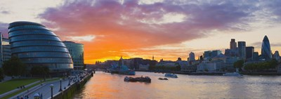 City hall with office buildings at sunset, Thames River, London, England 2010 Poster by Panoramic Images for $86.25 CAD