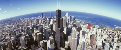 Aerial View of the Sears Tower with Lake Michigan in the Background, Chicago, Illinois, USA Poster by Panoramic Images for $86.25 CAD