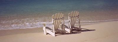 Adirondack chair on the beach, Bahamas Poster by Panoramic Images for $71.25 CAD