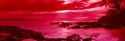 Red Sunset over the coast, Makena Beach, Maui, Hawaii Poster by Panoramic Images for $71.25 CAD
