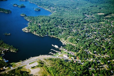 Aerial view of a bay, Gravenhurst Bay, Gravenhurst, Ontario, Canada Poster by Panoramic Images for $135.00 CAD