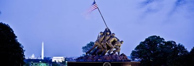 Iwo Jima Memorial at dusk with Washington Monument in the background, Arlington National Cemetery, Arlington, Virginia, USA Poster by Panoramic Images for $71.25 CAD