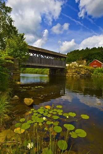 Covered bridge across a river, Vermont, USA Poster by Panoramic Images for $86.25 CAD