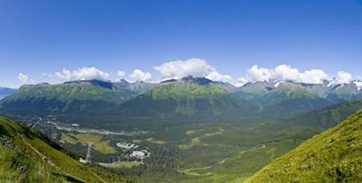 Aerial view of a ski resort, Alyeska Resort, Girdwood, Chugach Mountains, Anchorage, Alaska, USA Poster by Panoramic Images for $67.50 CAD