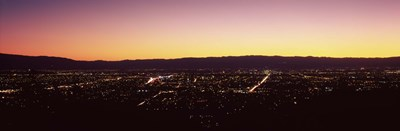 City lit up at dusk, Silicon Valley, San Jose, Santa Clara County, San Francisco Bay, California Poster by Panoramic Images for $71.25 CAD