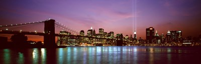 Skyscrapers lit up at night, World Trade Center, Lower Manhattan, Manhattan, New York City, New York State, USA Poster by Panoramic Images for $71.25 CAD