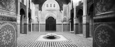 Interiors of a medersa, Medersa Bou Inania, Fez, Morocco (black and white) Poster by Panoramic Images for $86.25 CAD