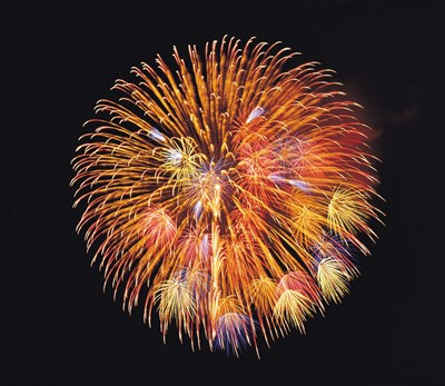 One big circle of fireworks with black background Poster by Panoramic Images for $97.50 CAD
