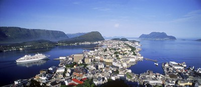 Aerial view of a town on an island, Norwegian Coast, Lesund, Norway Poster by Panoramic Images for $82.50 CAD
