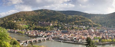 Aerial view of a bridge across a river, Heidelberg, Baden-Wurttemberg, Germany Poster by Panoramic Images for $86.25 CAD